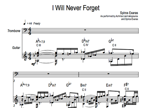I will never forget (score and parts)