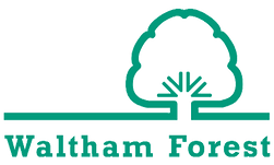 Icon of London Borough of Waltham Forest, which is a sea green logo with a tree to the left, connected to the ground, which is a straight horizontal line. Underneath the logo is the text Waltham Forest.