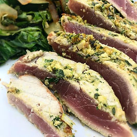 Thai spiced tuna with stir fried greens.