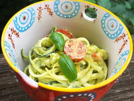 Raw Zucchini Pasta with Avocado Basil Pesto