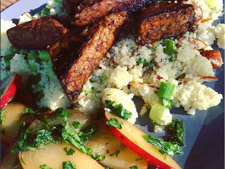Maple Tempeh with Lime Couscous Salad & Minty Plums