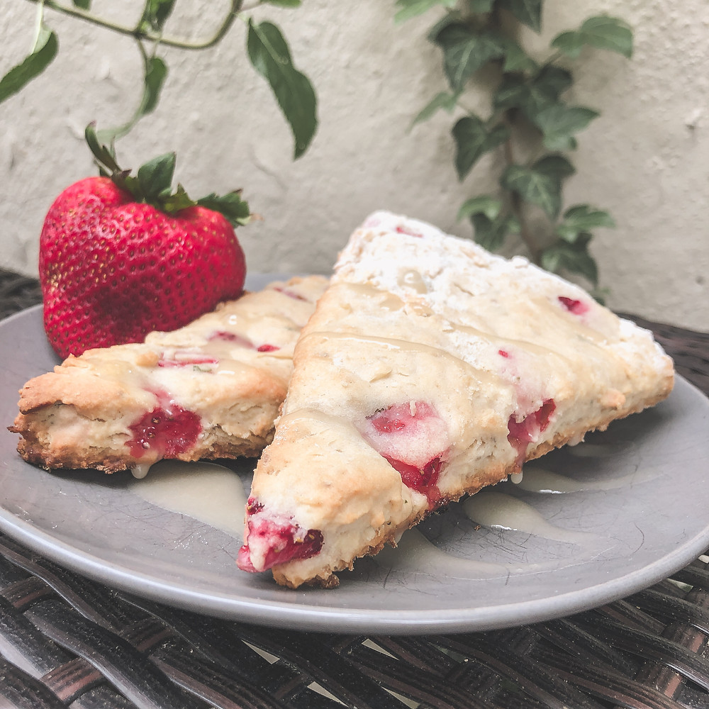 A photo of strawberry and chocolate mint scones