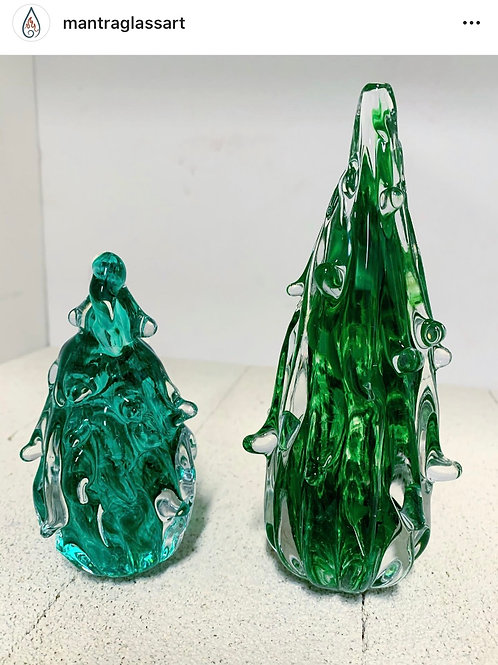 """Solid Christmas Tree 4"""" Paperweight Memorial Ashes In Glass"""