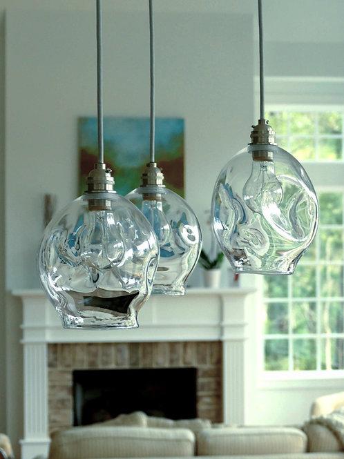 """Pendant light / 6"""" Lightly dented pendant / Hand blown glass lighting"""