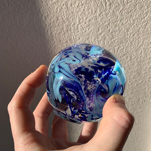 Ashes in glass keepsake paperweight with 3 colors