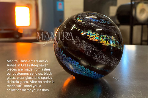 Galaxy Ashes in Glass Keepsake - Black, Dichroic Sparkles and Ashes