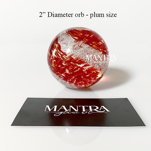 """Ashes in glass 2""""  keepsake orb memorial - Choose your own colors!"""