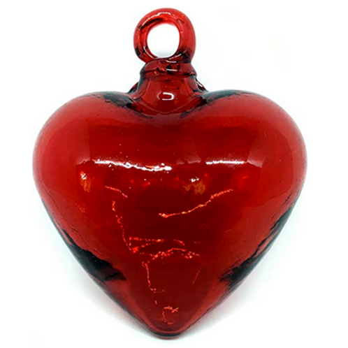 Blown Glass Heart Ornament - Red