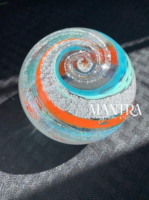 "5"" Ashes in glass keepsake memorial orb - Choose your own colors!"