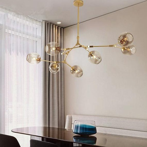 7 Piece Chandelier Blown Glass Bubble Lighting Design