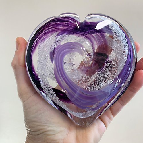 "Heart 4"" Cremation in Glass"
