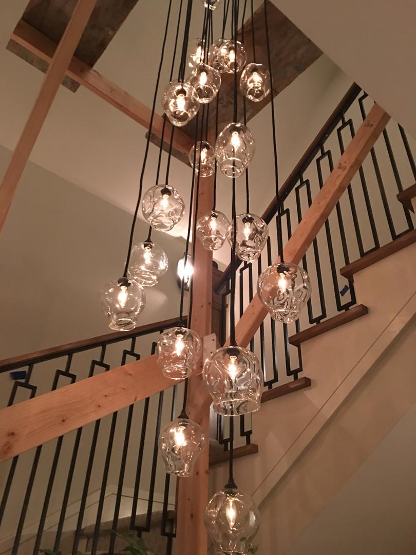 Nina Punzi Designs CA / Ghast Architects - Mantra Glass Art Pendant Light Installation Private Residence