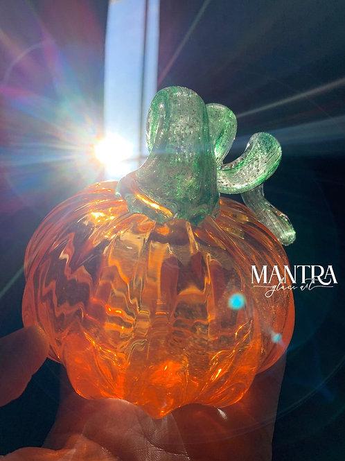 Ashes in Glass Pumpkin - hand blown glass pumpkin