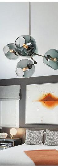 5 Piece Blown Glass Chandelier - Mantra Glass Art