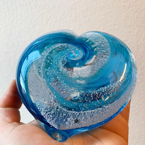 """Heart 3"""" Cremation in Glass"""
