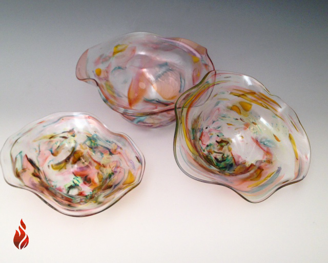Blown Glass Wavy Bowls