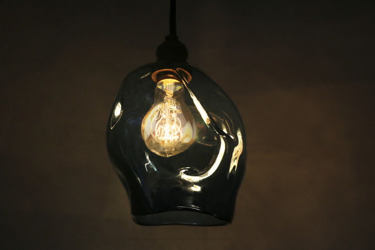 Smoke blue pendant light sample