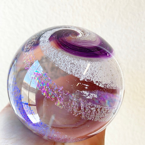 """3.5"""" Ashes in glass keepsake memorial orb - Choose your own colors!"""
