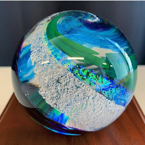 "4"" Ashes in glass keepsake memorial orb - Choose your own colors!"