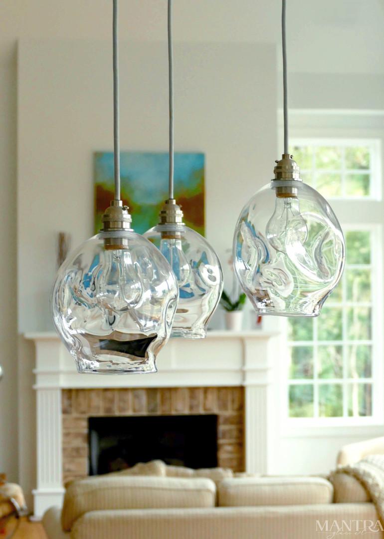 Preston Residence Hilton Head Island SC - Hand Blown Glass Pendant Lights by Mantra Glass Art