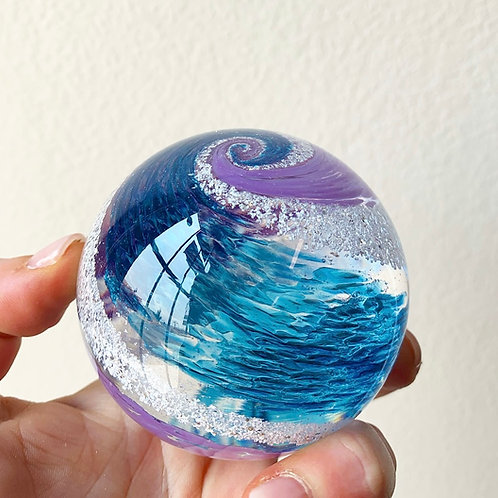"""Ashes keepsake  3"""" memorial orb - Choose your own colors!"""