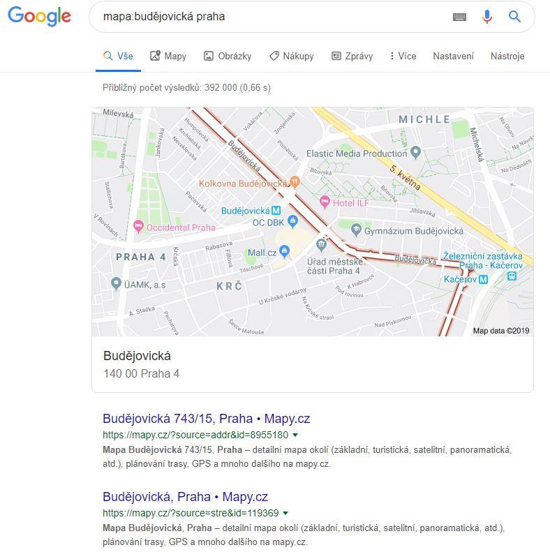 Výsledky vyhledávání pomocí mapy