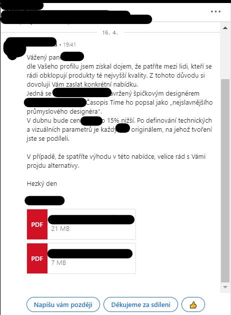 Ukázka špatné komunikace na LinkedIn