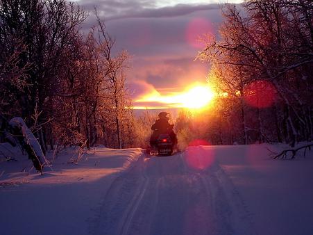 snowmobile, snowmobiling, snow, winter, sunset
