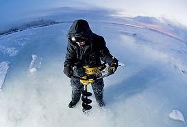 Ice auger, ice fishing, snow, winter