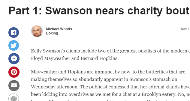 Part 1: Swanson nears charity bout