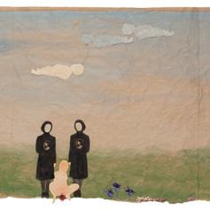 Het tijdstip van de geboorte in Tuam I - 2019  Knipsels op een met acrylverf geschilderd landschap op gekreukt kraftpapier 124 x 44 cm