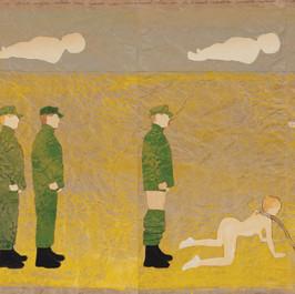 Welkom intermezzo - 2016  In de jaren des Heren 1943, 1944 en 1945 namen soldaten van het Rode Leger overwonnenen van het vrouwelijke geslacht, ongeacht hun leeftijd, op brute wijze, aldus een spoor van verscheurd vlees en bebloede vodden achterlatende op de vertrappelde grond - een welkom en op allerlei fronten bevredigend intermezzo - tijdens hun opmars naar het verre Berlijn.  Knipsels op een met acrylverf geschilderd landschap op gekreukt kraftpapier. 195 x 37,5 cm