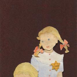 Wie oud zijn uw dochtertjes - 2020 Mogen ze onder Gods vleugelen rusten  Knipsels op een met acrylverf beschilderd vilt 10 x 24 cm