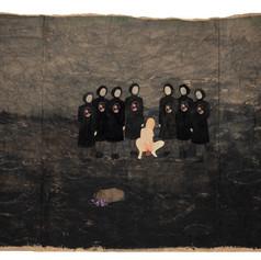 Het tijdstip van de geboorte in Tuam II - 2019  Knipsels op een met acrylverf geschilderd landschap op gekreukt kraftpapier 124 x 58 cm
