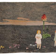 Zuigduimpjes - 2019  Knipsels op een met acrylverf geschilderd landschap op gekreukt kraftpapier 127 x 42 cm