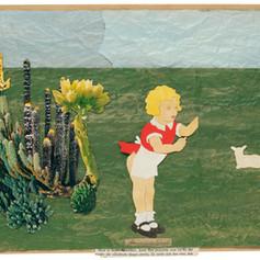 Friemelobject - 2018  Knipsels op een met acrylverf geschilderd landschap op gekreukt kraftpapier 46 x 32 cm
