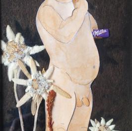 Het Zwitserleven - 2019  Knipsel met droogbloemen op een donzig bruine achtergrond. 8 x 17 cm