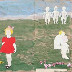 Over mijn geheime leven, hoe het begon en hoe het eindigde - 2016  Knipsels op een met acrylverf geschilderd landschap op gekreukt krafpaper. 189 x 37,5 cm