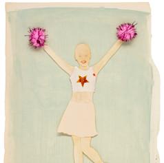 Fuck cancer - 2019  Knipsel op een met acrylverf beschilderd papier met twee rose pompons 22 x 30,5 cm
