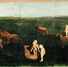 Het Meisjesparadijs - 2016 en 2018  ...en God schiep een wereld vol lieve meisjes en mooie bruine paardjes die samen speelden en God zag dat het goed was en sprak: Wat een heerlijke nieuwe wereld. En toen God het werk voltooid had, rustte Hij...  Knipsels op een met acrylverf geschilderd landschap op gekreukt kraftpapier. 253 x 42,5 cm