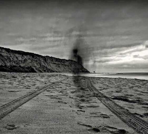 A scary photograph at the haunted beach.