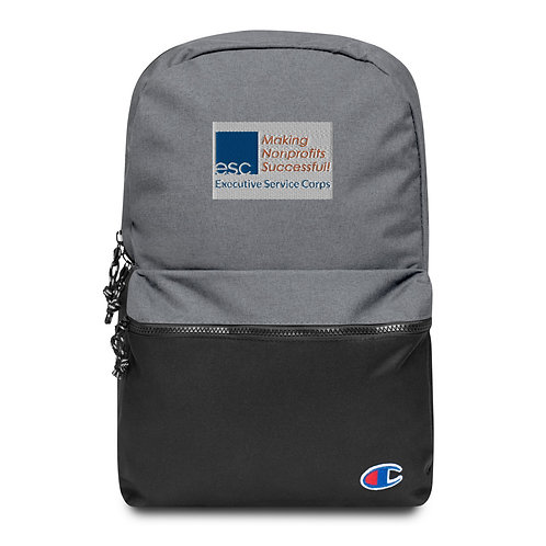ESC Grey and Black Embroidered Champion Backpack