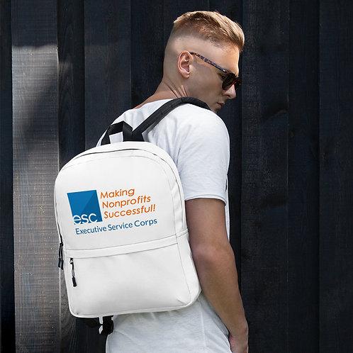 ESC White Printed Logo Backpack