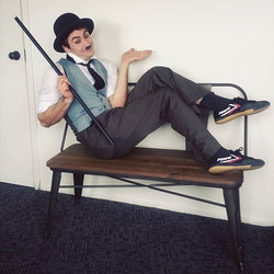 Reprising my role as Charlie Chaplin for the Santa Monica Pier carousel 100th year anniversary