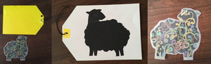 Images of labels and sheep - the first a yellow label and psychedelic sheep, the second a black sheep on a white label, then the psychedelic sheep on it's own