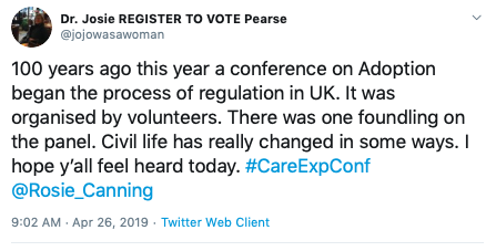 A good story needs #conflict - apart from the obvious 'man vs. the system' - the computer and printer stopped working... We managed though. Good luck messages were beginning to arrive. And this one from  @jojowasawoman  was particularly good at #creatingemotion.  #CareExpConf