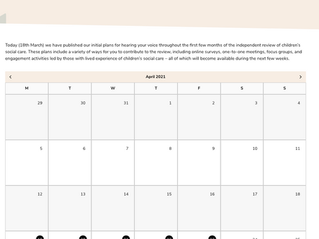 The Children's Social Care Review has created a calendar of events
