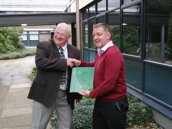 Once the story is #published there is often a press release with photos: @IDickson258  presenting Prof. Michael Lavalette  @mlavalette  with copies of the reports from the conference for care experienced people at  @LiverpoolHopeUK  today.   #carefamily