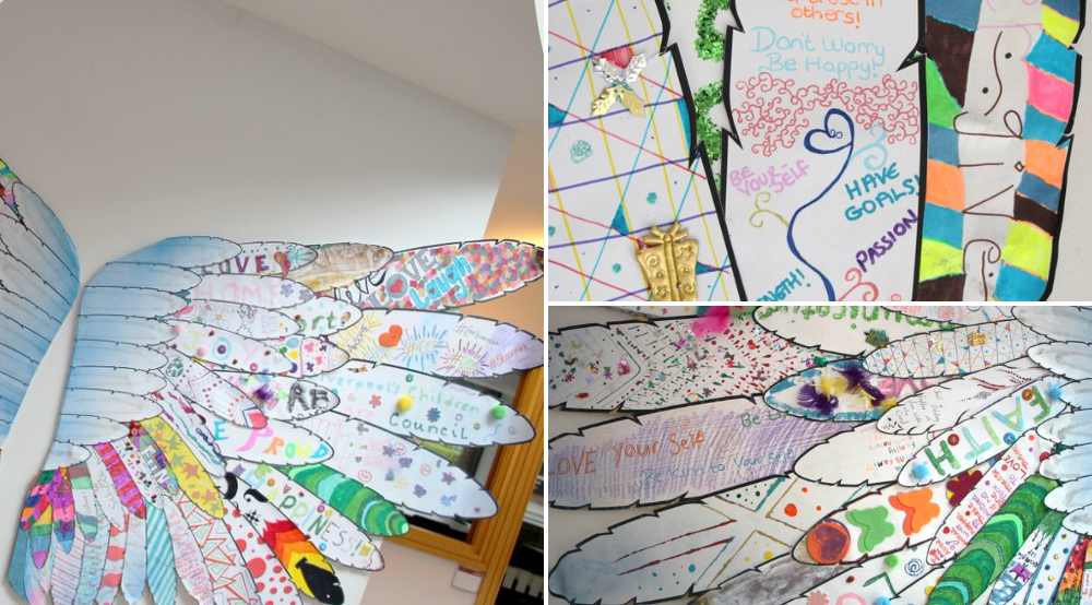 #Characters are the heart and soul of any story and the #CareExpConf had many of those, even the art pieces had their own unique #story   #WingOfHope put together by children in care from the North of England and collated by the lovely  @Rodkippen