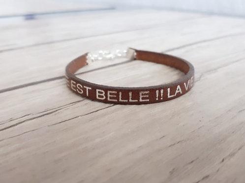 """Bracelet cuir et Argent 925 """"La vie est belle"""""""